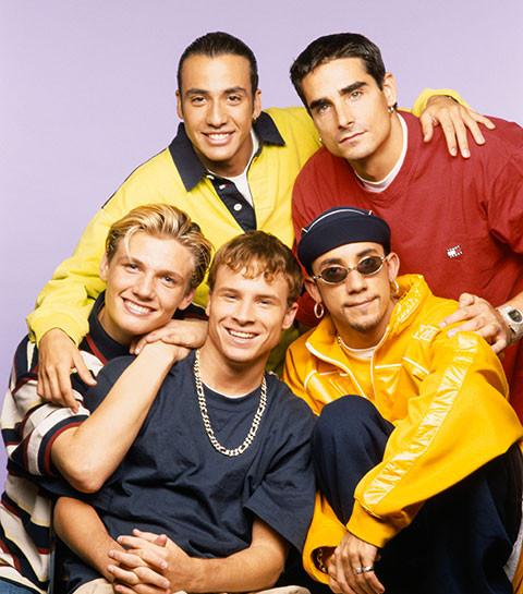 Backstreet boys posing together, 1990s