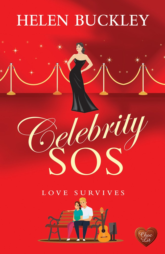 Celebrity SOS red cover with woman in black dress